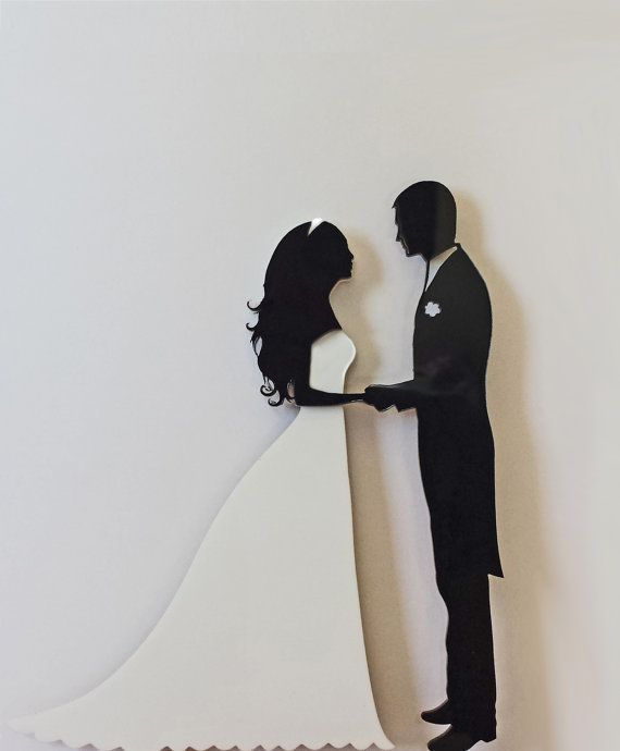 Wedding Cake Topper Silhouette Groom and Bride Black and