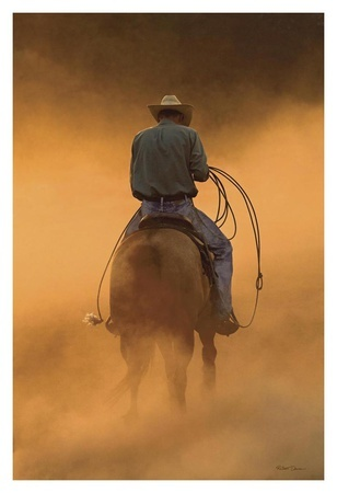 Cowboy and horse in cloud of sist. Teo on the Ranch Robert Dawson