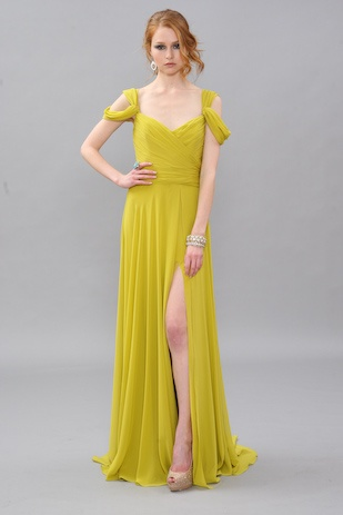 Lorena Sarbu chartreuse dress