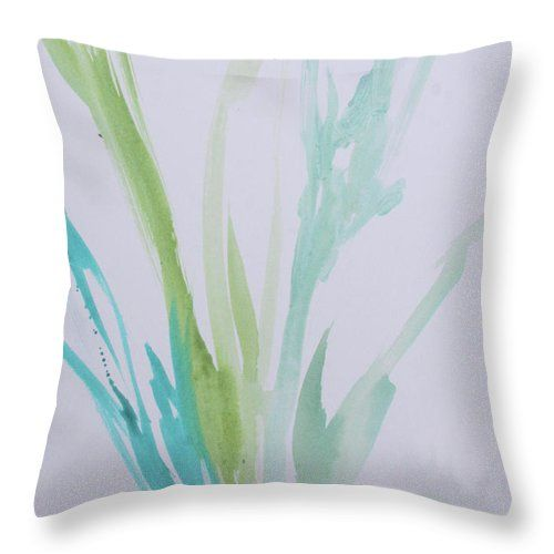 Azul Verdoso Throw Pillow featuring the painting Azul Verdoso Bamboo Rain by Robin Maria Pedrero