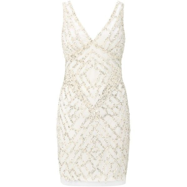 Aidan Mattox Beaded V-Neck Cocktail Dress, Ivory ($200) ❤ liked on Polyvore featuring dresses, kleider, white mini dress, party dresses, short white cocktail dress, white sequin dress and short white dresses
