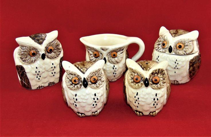 Enesco Owl Kitchen Set, Creamer and Sugar Bowl, Salt and Pepper Shakers, Napkin Holder, Vintage 1979, Made in Japan