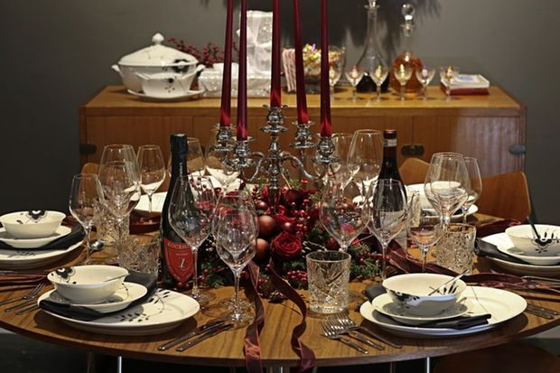 Royal Copenhagen Christmas tables 2014 featuring the Kay Bojesen Grand Prix cutlery. Danish Design.