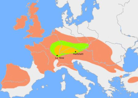 Celts in Europe 800 - 400 BC. The green area suggests a possible extent of (proto-)Celtic influence around 1000 BC