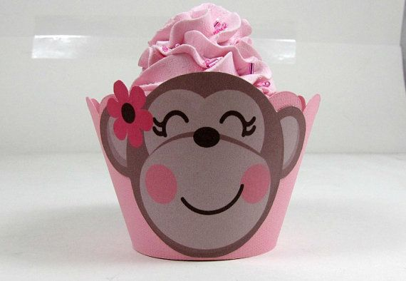 Monkey cupcake wrappers girl monkey cupcake by LetsPartyCupcake, $12.00