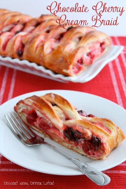 Chocolate Cherry Cream Braid on MyRecipeMagic.com is so delicious for breakfast. Perfect for Christmas morning!