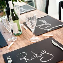 Chalkboard Place Mats, Emaline Bride.  #DIY Wedding #DIY Table Setting #Wedding Place Setting