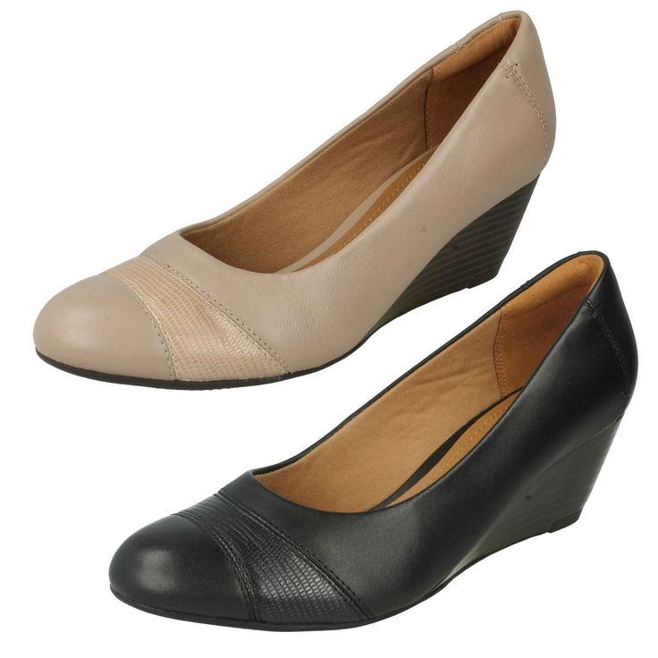 Ladies Clarks Black Leather Slip On Wedge Shoes Uk Sizes 3-7 Brielle Tacha