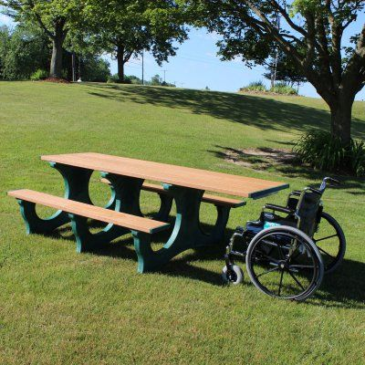Outdoor Polly Products Polly Tuff 8 ft. Easy Access Recycled Plastic Picnic Table - Single ADA Entry Black Green - ASM-PTEAHA8-BLK-GRN