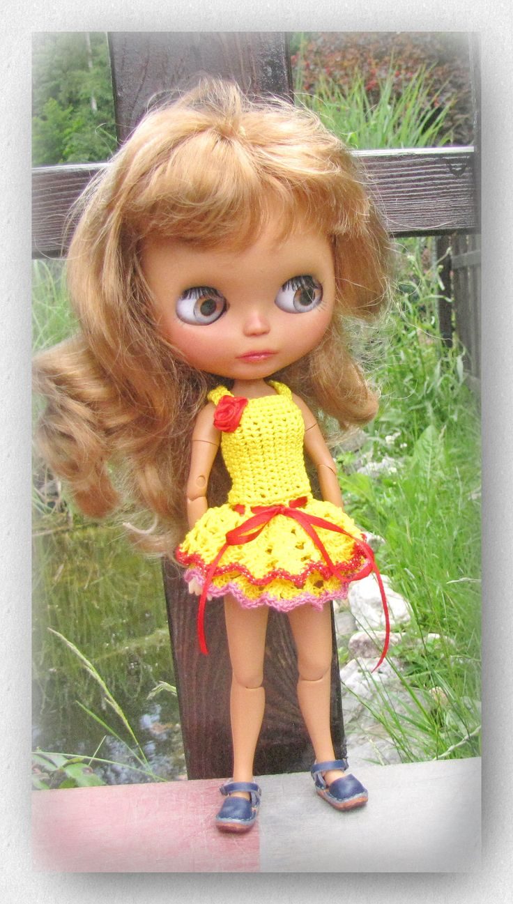 Crocheted dress for Blythe doll  FREE Shipping by Shopdollwithowl on Etsy