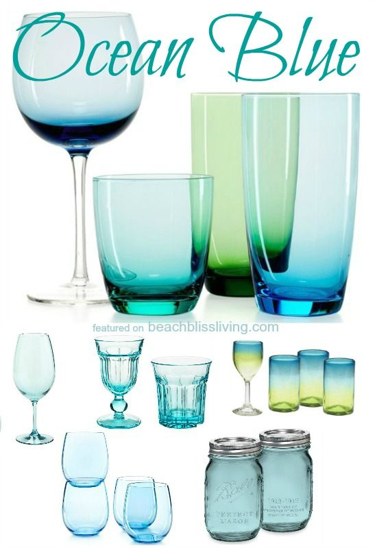 Blue Drinking Glasses.... like looking into clear ocean waters! Via: http://beachblissliving.com/blue-drinkware/