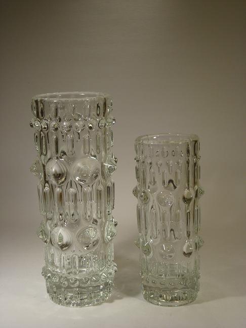 "Frantisek Peceny for Hermanova Hut    Vases designed by Frantisek Peceny for Hermanova Hut. 1970s.    Height: 22,5 cm (8.9"")  Price: 550 SEK   No. 5076A    Height: 18 cm (7.1"")  Price: 450 SEK  No. 5076B"