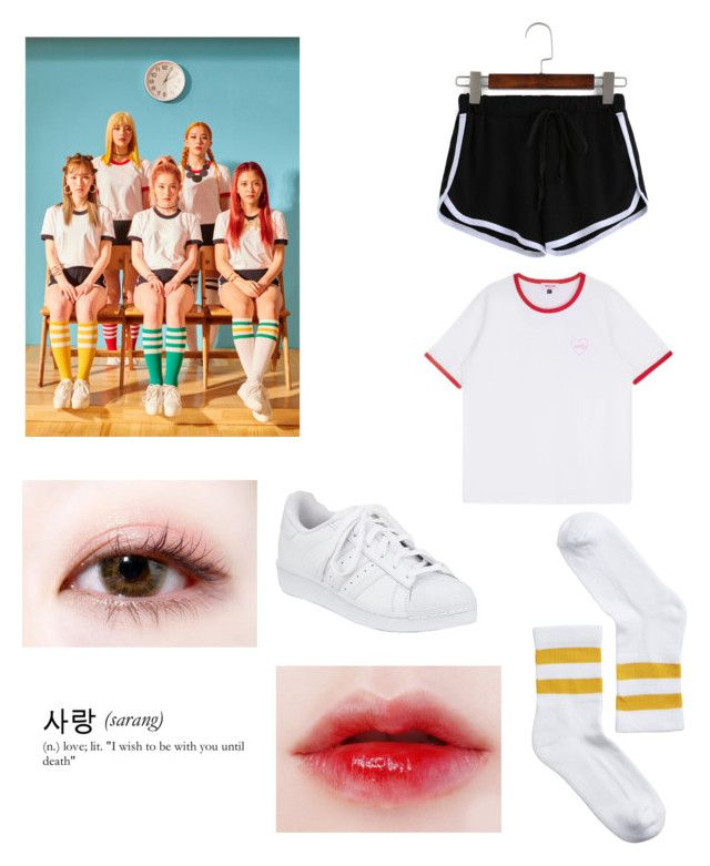 """""""red velvet 'russian roulette' inspired look"""" by demi-demented on Polyvore featuring Monki and adidas"""