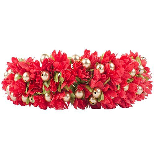 Majik-Artificial-Flowers-Hair-Veni-Gajra-Women-Hair-Accessories-Free-Hair-Donut-18-cm-Red