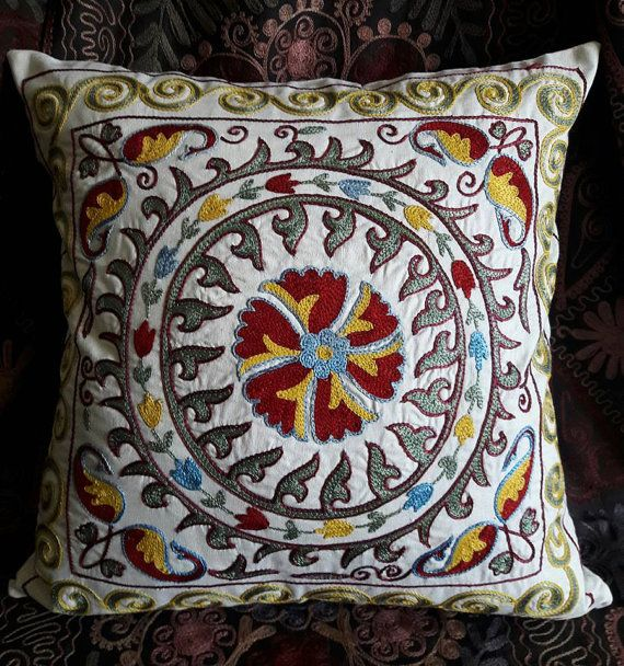 Hand Embroidered Suzani Pillow by SuzaniUzbekistan on Etsy