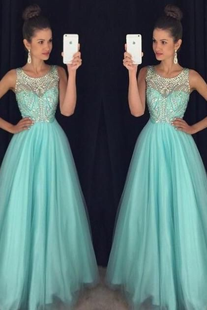 Prom Dress, Light Blue Prom Dress, Crystal Prom Dress, Long Prom Dress, Party Dress, A-Line Prom Dress, Halter Prom Dress, Open Back Prom Dress UK3491