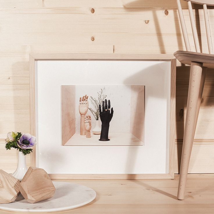 ZOE AND MORGAN, HANDS FRAMED PRINTS  'To say yes, you have to sweat and roll up your sleeves and plunge both hands into life up to the elbows'  300mm x 220 mm Natural wood frames 4.5 deep by 2cm wide. 7cm around each floating image.   Photographer: Calypso Paoli