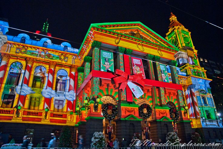 Christmas Decorations In Melbourne - Evening Walk
