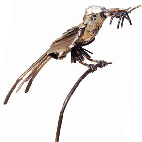 The Bee Eater metal bird sculpture on a stake