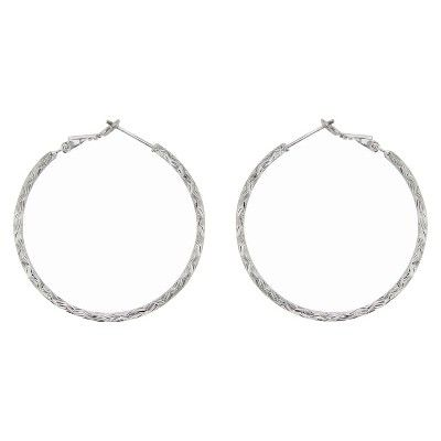 82d36ea3b79e5 Hoop Earrings Sterling Textured 40 MM Round - Silver #Sterling ...