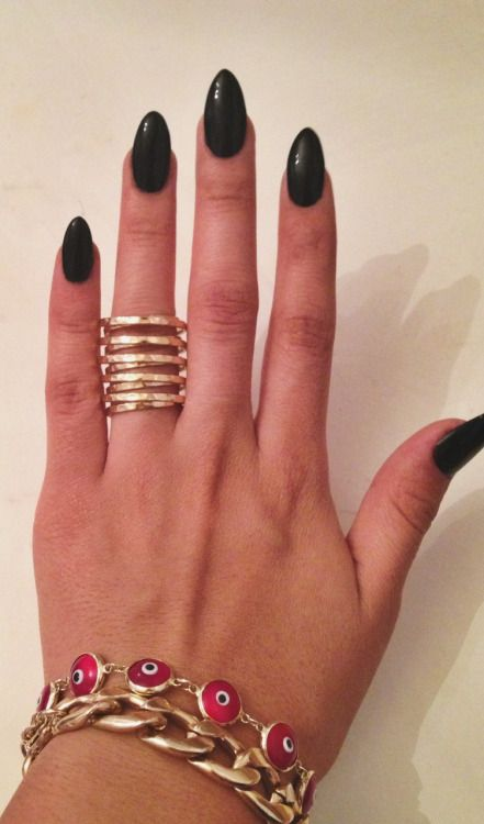 matte black almond nails - Google Search