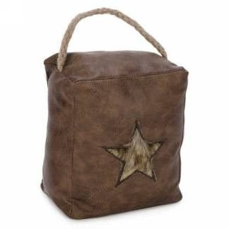 Brown faux leather door stopper - fur star