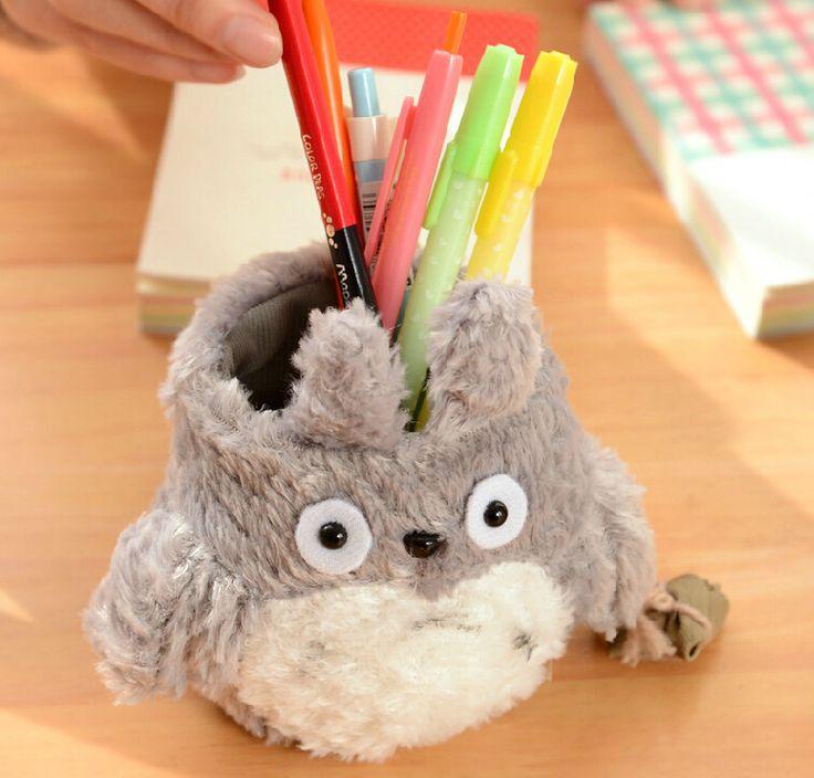I46 Lucu Kawaii Totoro Mewah Pemegang Pena Kotak Pensil Kasus Penyimpanan Pemegang Dekorasi Hadiah Ulang Tahun
