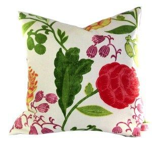 Update your room with this Kravet Harpsicord Pillow Cover in vibrant shades Green,, Tomato Red, Yellow . Oversize floral print, 55% Flax
