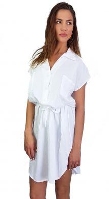 Monochromatic πουκαμίσοφόρεμα με ζώνη στη μέση
