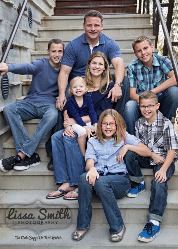 Family portrait on stairs family of five dc marketplace blue coordinating clothes