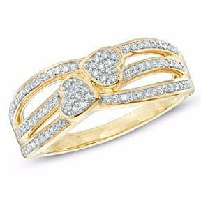 1/5 Ct Real Diamond Double Heart Promise Ring In 10K Gold # With Free Stud Earrings by JewelryHub on Opensky
