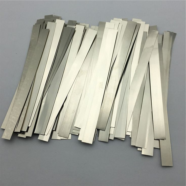 100pcs/lot 0.2mm x 6mm x 100mm Quality low resistance 99.96% pure nickel Strip Sheets for battery spot welding machine