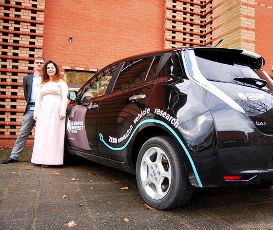 A talented international student has designed the branding for an electric car being used in a major research project.