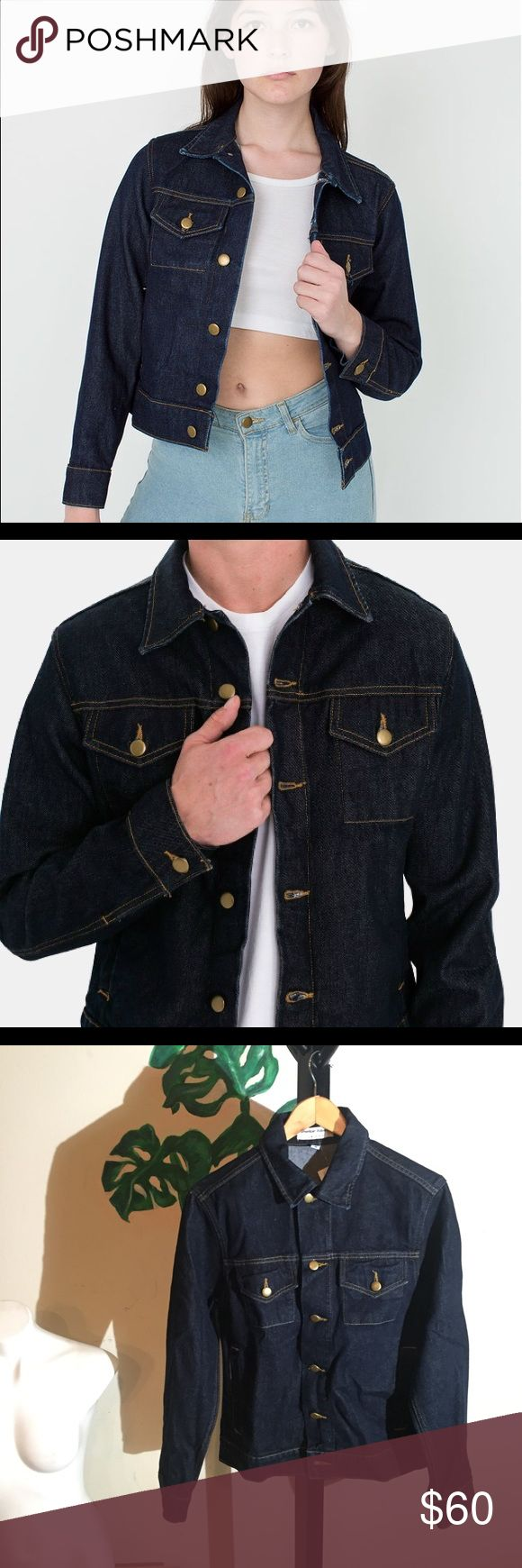 NEW UNISEX American Apparel Denim Jacket ***MAKE OFFER*** NEW UNISEX NEVER WORN American Apparel Denim Jacket (XS fits like a SMALL/MEDIUM - BE AWARE!!). These jackets run about 1.5 to 2 sizes big. It is, definitely, size-wise closer to men's than woman's as I usually wear a SMALL or MEDIUM in men and can fit in the XS! Beautiful jacket, well made, and will last forever! Start putting some of those patches on a jacket already, ya punk! MAKE AN OFFER American Apparel Jackets & Coats