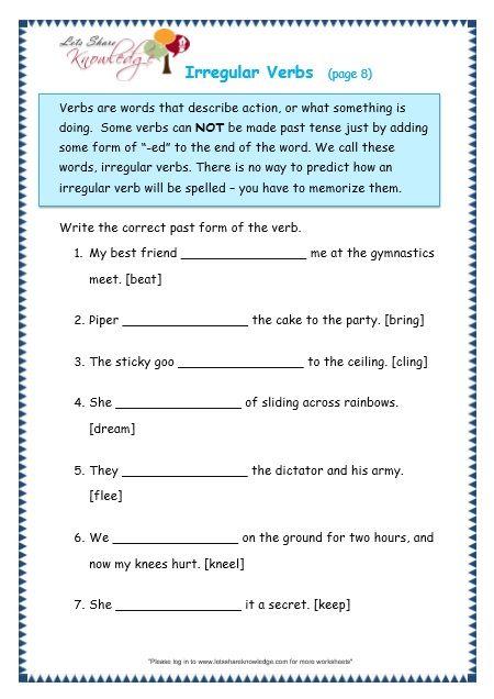 Irregular Verbs worksheet | English | Verb worksheets, Irregular ...