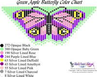 Dainty Green Apple Butterfly Fringe Necklace Printable Bead Graph for Beading