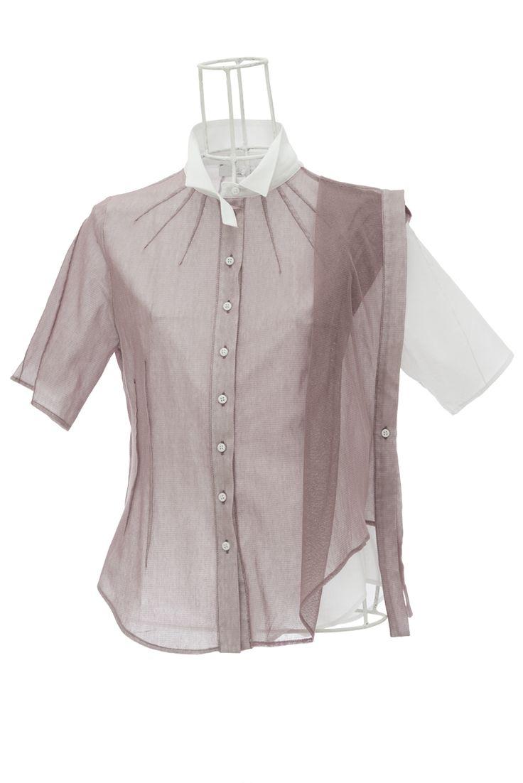 Chemise femme asymétrique en voile et tulle mauve SOLA Ken Okada http://shop.ken-okada.com/fr/8-okada-l-art