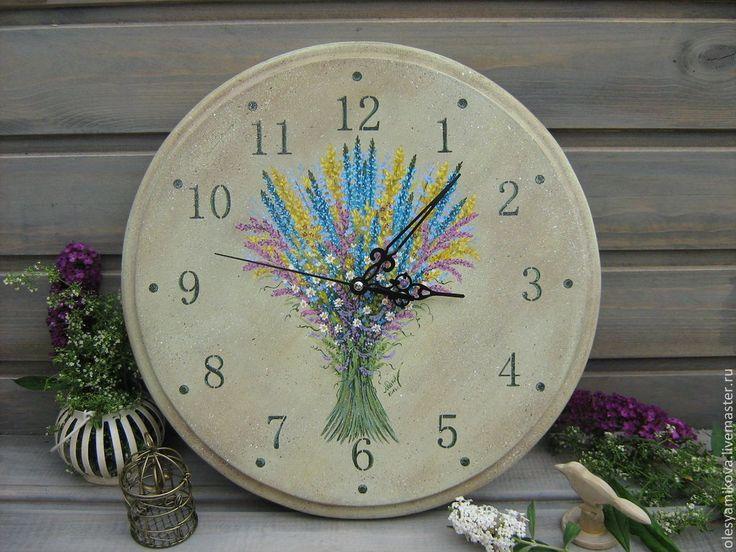 """Купить Часы """" Лета жаркого привет """" - лето, июль, букет, полевые цветы"""