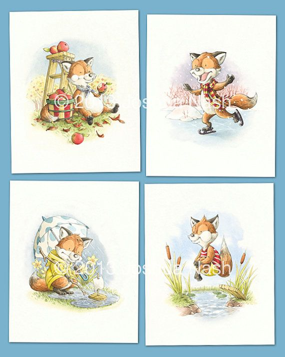 A Fox for all Seasons - Four Print Set, 8 x 10 Limited Edition, Signed and Numbered by Artist. $125