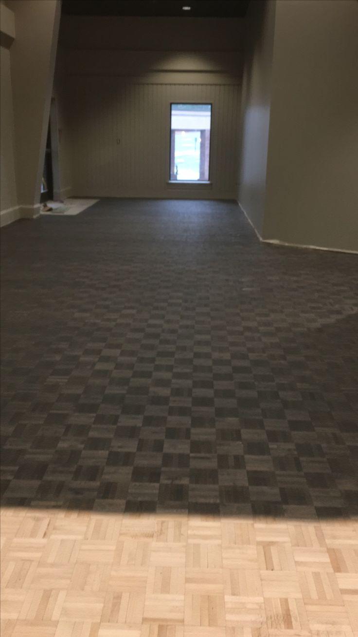 Classic Gray And Ebony Parquet Floors Dark Stain Ideas Flooring