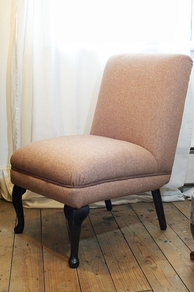 Vintage chair reupholstered in dusky pink herringbone wool with dark pink piping | Home, Furniture & DIY, Furniture, Chairs | eBay!