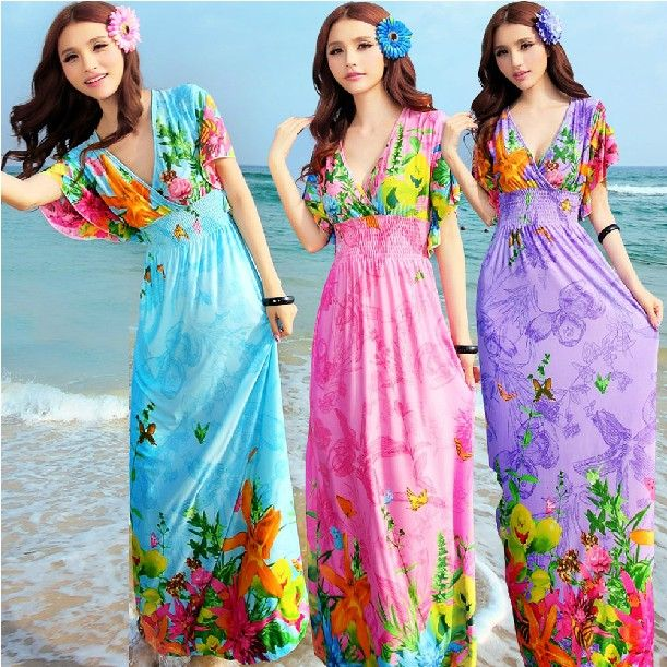 $15.8 - 2015 summer dress women's flower floral print long bohemia dress full dress short-sleeve beach cover up dress plus size