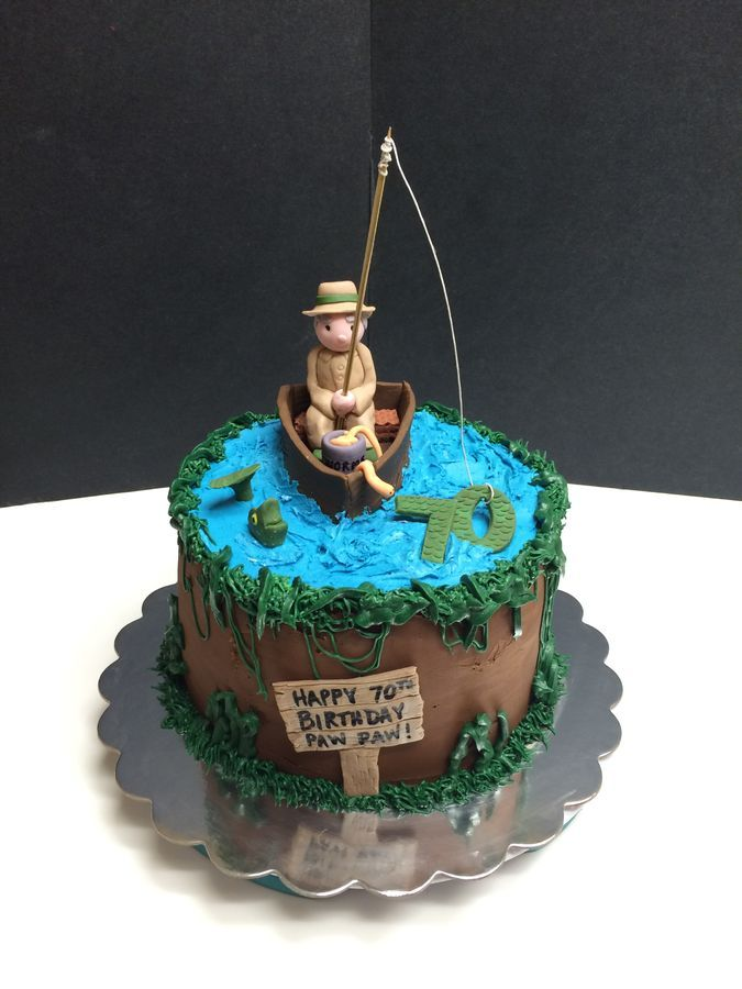 70th Birthday Fishing Cake With Fisherman Fish Cake