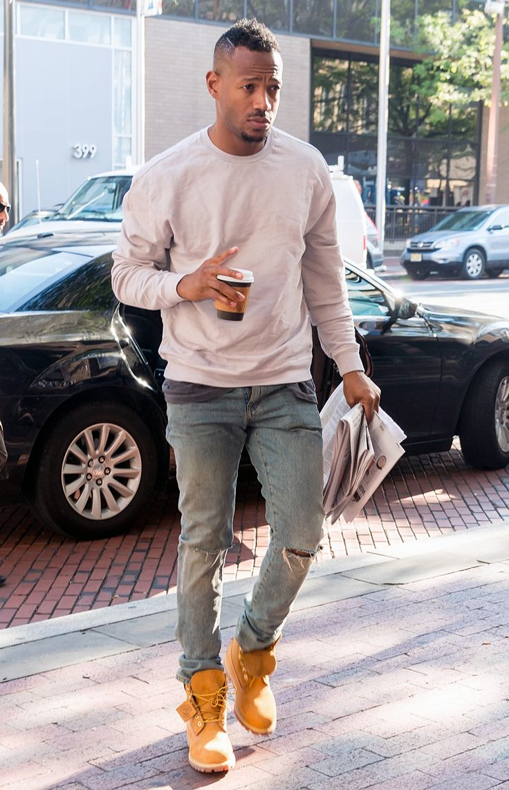Good jeans with just a bit of distressing, tonal sweatshirt/T-shirt combo up top—it's cool . Read NOW: 16 Style Lessons from the Best- (and Worst-) Dressed Men of the Week
