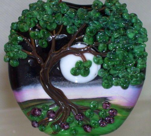 wstgaa summer misttree moon handmade lampwork focal glass bead sra by molly