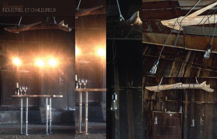 Luminaire Pür cachet - disponible avec 3 ou 5 ampoules vintages  #luminaire #vintge #driftwood #purcachet