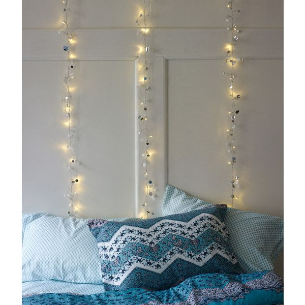 Sequin Garland String Lights ($21) ❤ liked on Polyvore featuring home, lighting, battery wall lights, star lights, star lamp, wall lamp and battery operated lights