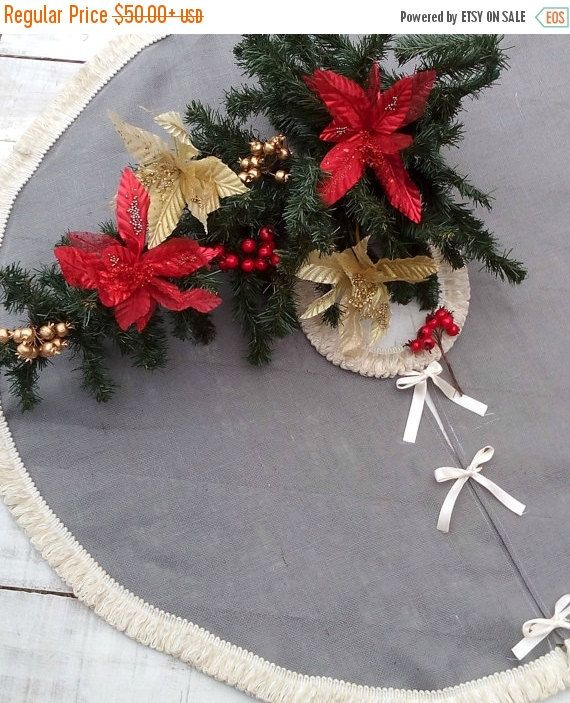 SALE 10% Burlap Tree Skirt  Christmas Tree by AJRUSTICCREATIONS