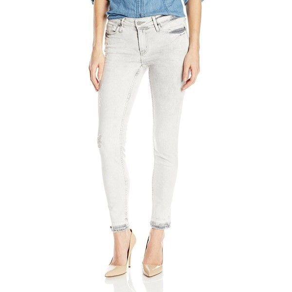 Calvin Klein Jeans Women's Ankle Skinny Jean, Erased Charcoal, 26 ($90) ❤ liked on Polyvore featuring jeans, calvin klein jeans, mid rise jeans, skinny ankle jeans, white skinny ankle jeans and super skinny ankle jeans