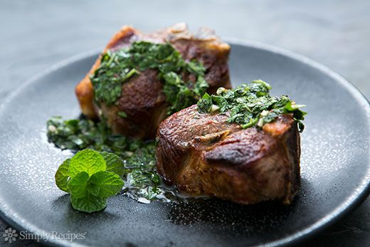 Lamb Loin Chops with Mint Chimichurri Recipe   SimplyRecipes.com   Outstanding recipe as always. Mint chimichurri is highly addictive.